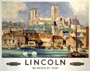 Lincoln Cathedral England British Railways Vintage Travel